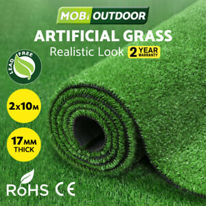 MOBI OUTDOOR Artificial Grass Synthetic Fake Turf 2Mx10M Plastic Olive Lawn 17mm