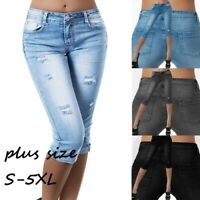 Womens High Waist Ripped Skinny Calf-Length Jeans Pants Denim Capris Shorts Plus