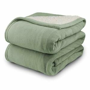 Pure Warmth MicroPlush Sherpa Electric Heated Blanket Queen Sage
