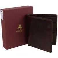 Mens Italian Leather Bi-Fold Wallet by Visconti; Enzo Range Veg Tan Classic Gift
