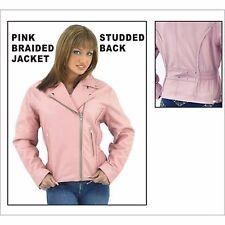Womens Pink Top Grade Leather Motorcycle Jacket#  LJ710-PINK