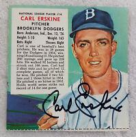 1955 CARL ERSKINE Signed Red Man Baseball Tobacco Card Brooklyn Dodgers