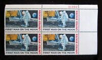 Unused 1969 Air Mail stamp plate block Scott #C76 Moon Landing MINT NH XF OG