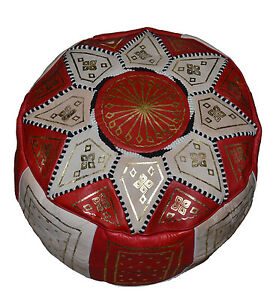 Ottoman Footstool Poof Moroccan Hand Made Leather Poufs Hassock Medium Red/Beige