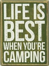 "LIFE IS BEST WHEN YOU'RE CAMPING Wooden Box Sign 5.5"" x 4"", Primitives by Kathy"