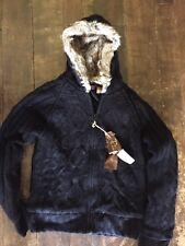 Women's S Fleece Lined Sweater Fur Hoodie Jacket Winter Warm Black $125 MSRP