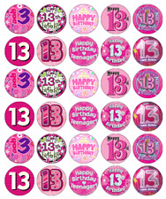 13th Birthday Girl Pink Cupcake Toppers Edible Paper Fairy Cake Topper x 30
