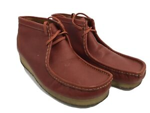 Clarks Originals Mens Red Wallabee Pebbled Leather Chukka Boots Shoes Sz US 13M