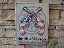 "1852 SMITH WESSON Metal Tin 12"" x 16"" Gun SIGN Bullet Ammo Wood Box 357 Magnum"