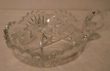 Antique Cut Crystal Brilliant Finger Loop Bowl Saw Tooth Star Design Nice Piece