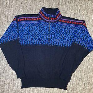 VTG Meister Mens Large L Ski Sweater 1/4 Zip Crewneck Pullover Colorful Wool