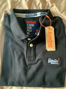 Men's SUPERDRY BRAND NEW WITH TAGS black polo shirt, size 4XL XXXXL fit XL, XXL