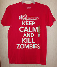 "NWT MENS urban PIPELINE ""KEEP CALM AND KILL ZOMBIES"" RED NOVELTY TSHIRT SIZE M"