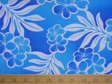 New Hawaiian Hawaii Paradise Blue Gradient Flowers Print Fabric BTY