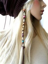 Boho Multi-Color Beads Leather Hair Ties Wraps Hair Jewelry Suede Ponytail