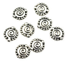 30 Antique Silver Plated Pewter Flat Spiral Beads 10MM