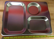 Genuine British Army 3 Compartment Stainless Steel Mess Food Tray 1988 UNUSED
