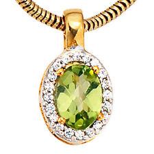 Colgante 585 oro Amarillo Oro rodanizado en parte 1 Peridoto 20 diamantes