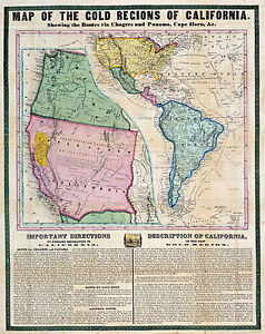 "1849 Mining Map California Gold Rush Regions Wall Poster History 11""x14"" Print"