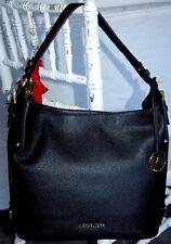 Michael Kors Bedford Belted BLACK Large PEBBLE Leather Shoulder BAG new NWT $298