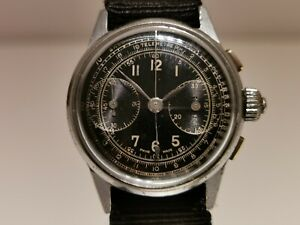 VINTAGE RARE WW2 MILITARY SWISS MEN'S MECHANICAL CHRONOGRAPH UNBRANDED WATCH