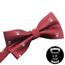 Burgundy Red Bow Tie Skull Print Quirky Alternative Formalwear Wedding Party UK