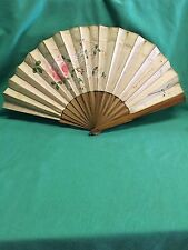 Antique Hand  Wood Canvas Folding Fan 1880's & 1890's Signed by numerous people