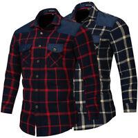 Mens Denim Shirt 100% Cotton Breathable Workwear Long Sleeve Work Casual Shirts