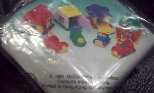 McDonalds Character Toys 1993 Comp Set of 4 MIP Mini Cars & Buildings Francais