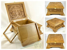 Medium Russian Orthodox Wooden Reliquary box Made From Oak Unique Carved Work