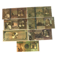 7pcs Saudi Arabia Banknote Gold Foil Paper Money Crafts Collection Note Curre JL