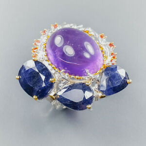 65 ct+ gems jewelry Amethyst Ring Silver 925 Sterling  Size 9 /R165748