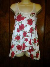 Red Rose Print Sweetheart Neckline High Low Hem Babydoll Tunic Top
