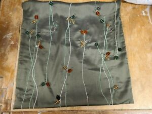 """Pottery Barn """"Pussy Willow - Dark Green"""" 18"""" Silk Pillow Cover"""
