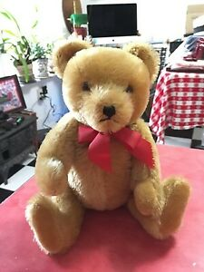 Vintage Musical Wind Up Mohair Hump Back Glass Eyes Jointed Hermann Teddy Bear