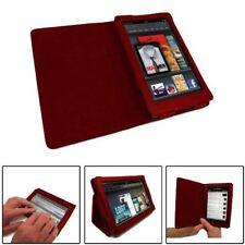 Finta PELLE ROSSO Folio LIBRO Wallet Stand Case Cover per Amazon Kindle Fire HD
