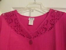 AVON STYLE*GAUZE TUNIC WITH KNIT TRIM*HOT PINK*MEDIUM*100%COTTON*NEW IN PLASTIC