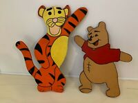 WINNIE THE POOH & TIGGER | HAND-MADE WOOD CUT-OUTS | VINTAGE
