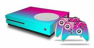 Skin XBOX One S Console Controller Smooth Fades Neon Teal Hot Pink