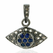 Diamond Blue Sapphire 925 Sterling Silver Oxidized Evil Eye Charm Pendant Pave