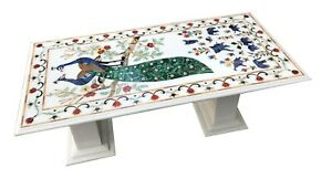 """5'x3' White Marble Dining Table With 24"""" Stand Peacock Floral Inlay Decor W081B"""