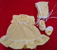 """Doll Clothes Handcrafted Vintage Style Yellow 3 pc set Dress fit 11""""-13"""""""