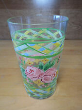 """Glassware Handpainted 5 1/2"""" Tumbler Pink Green Floral Rose 1 ea    16 available"""