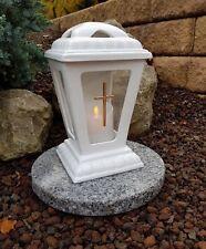 Grablaterne + Granit Sockel + LED Kerze Grablampe Grableuchte Teelicht Grablicht
