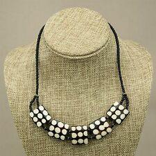 African Tribal Jewelry Bovine Cow bone Polka Dot Batik Choker Necklace 613-65