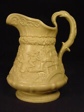 RARE SIGNED 1835 RAISED RELIEF RIDGWAY MORALITY PITCHER YELLOW WARE MINT