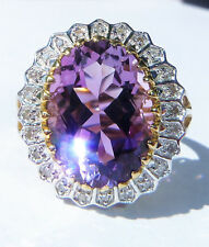Large 9ct Gold 7.00ct Amethyst & Diamond Cocktail Ring, Size M, Diana Style