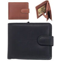 Mens Gents Super Soft Genuine Leather Wallet RFID Blocking Coin Holder Black