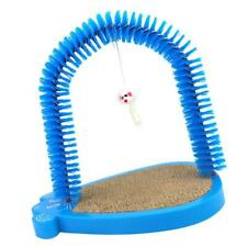 Cat Scratching Arch Pet Hair Brush Groomer Durable Construction Blue