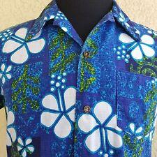 Penneys Hawaii Aloha Mod Floral Hibiscus Tapa Barkcloth Vintage Shirt Size M